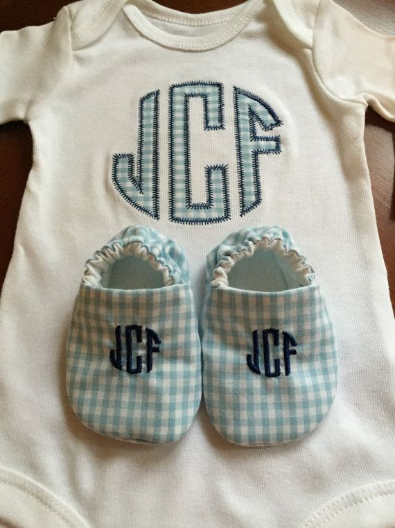 Baby Boy Monogrammed Onesie with Shoes by Zaltique on Etsy ...