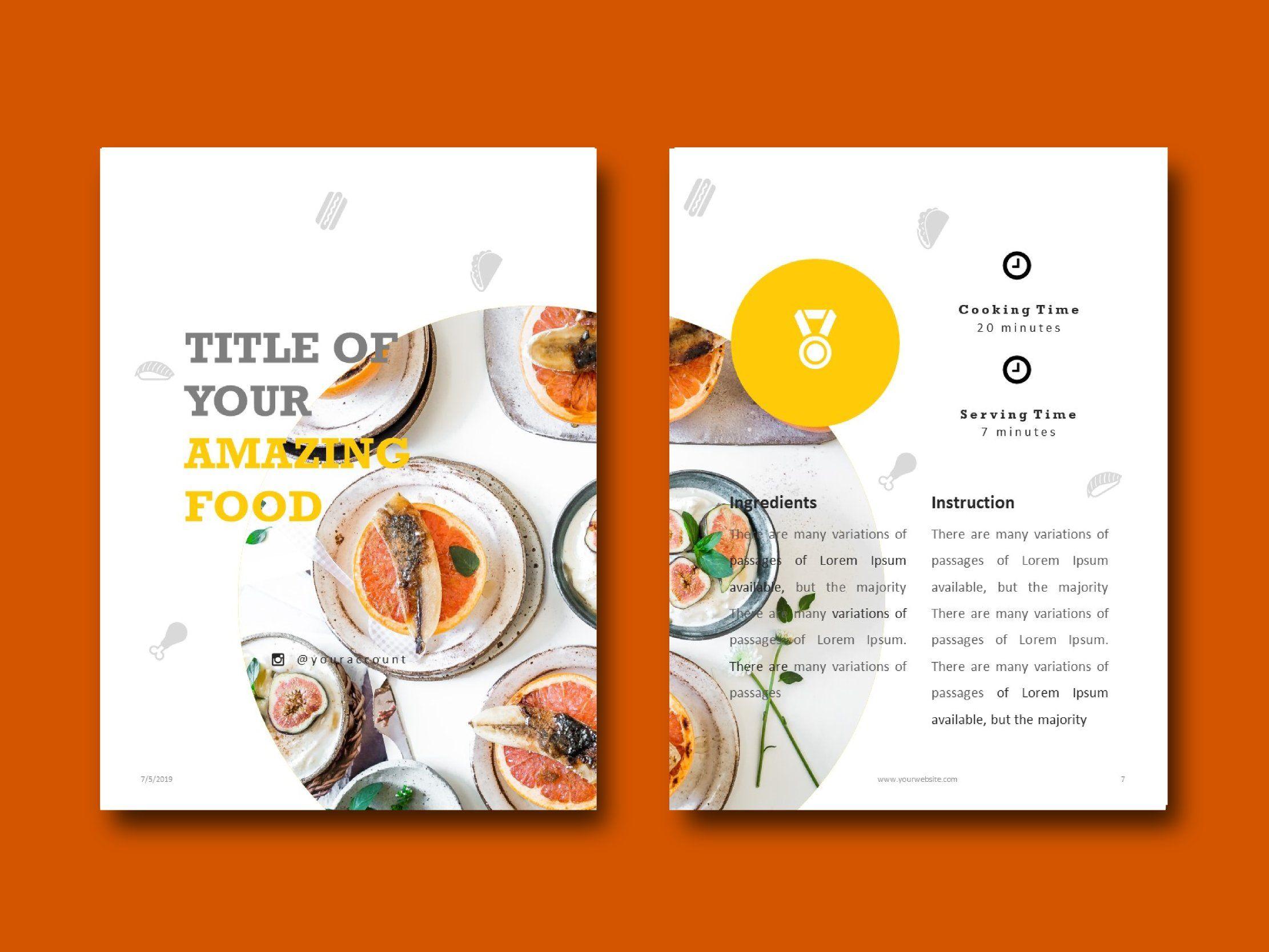 Recipe Book Cookbook Ebook Template Design Cookbook Template Recipe Book