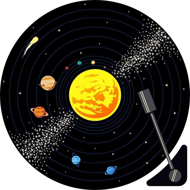 Solar System Vinyl Record Sticker