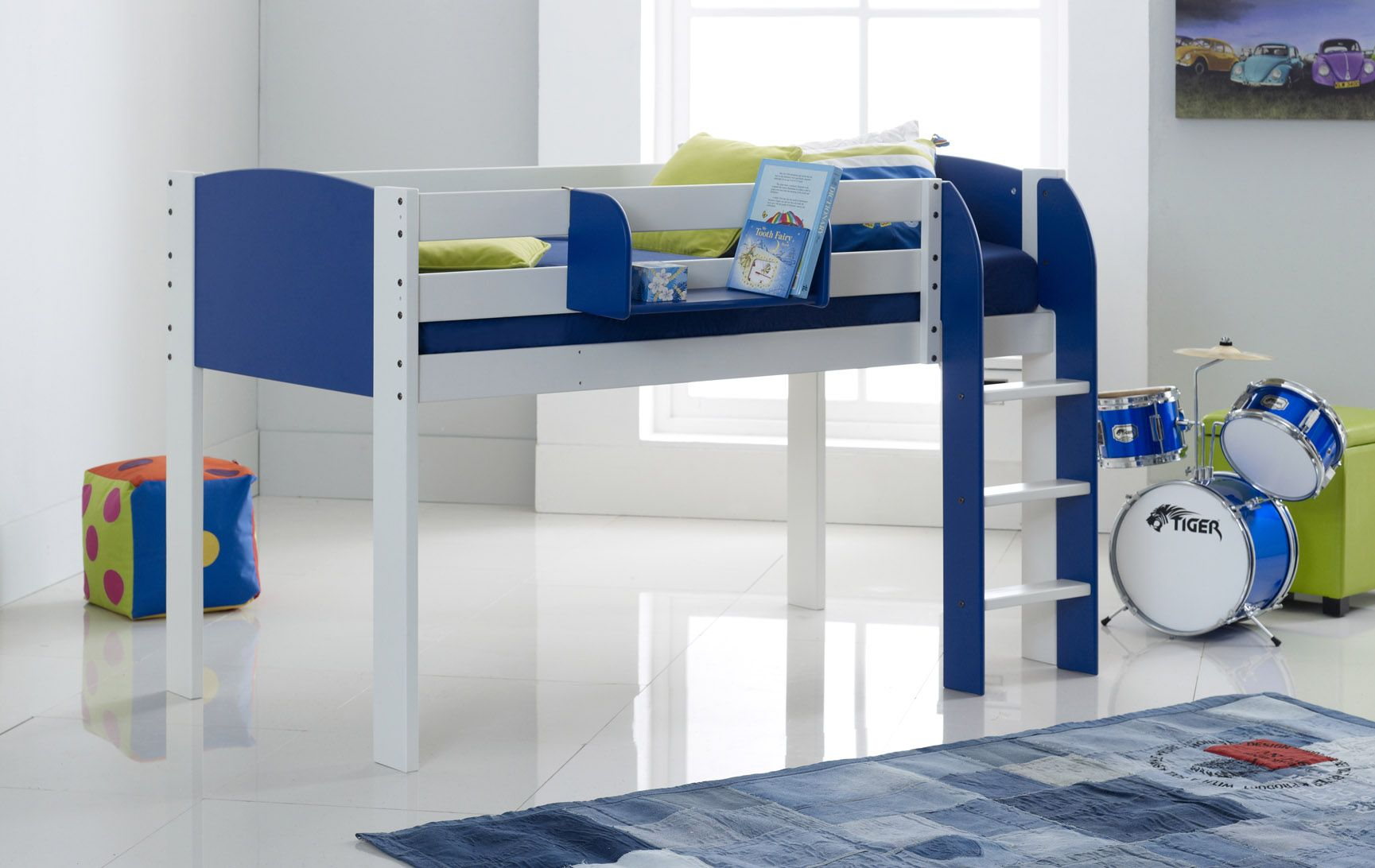 Scallywag Exclusive Kids Mid Sleeper Cabin Bed Straight Ladder - Scallywags bedroom furniture