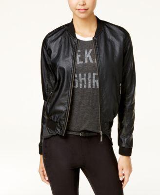 Jou Jou Juniors' Faux-Leather Embroidered Bomber Jacket - Black XXL