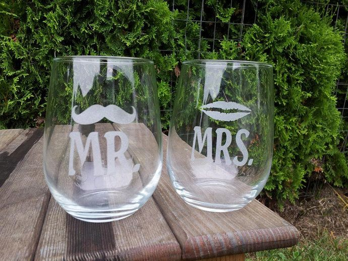 Etched Stemless Wine Mr. and Mrs. Glasses with Mustache and Lips by Everything Blasted, $18.00 USD