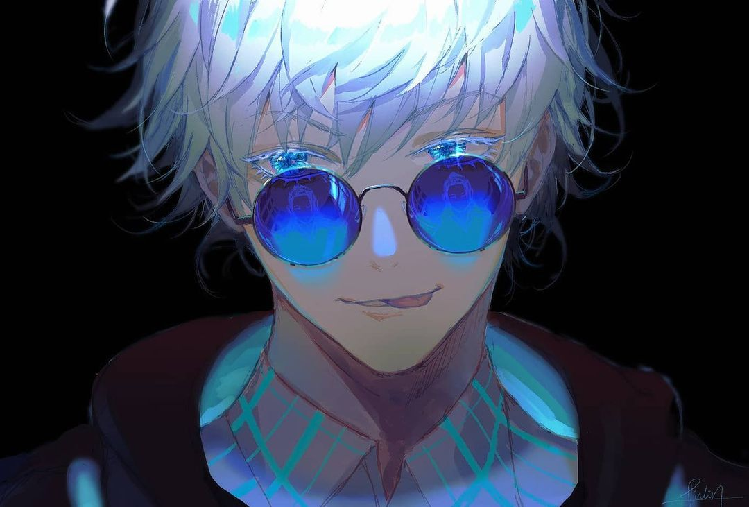 Pinlin On Instagram Gojo Because He Is Bae I Gave Him Blue Glasses With Reflections Of Geto Its A Bit Small To See Here Thou In 2021 Jujutsu Anime Guys Manga Cute