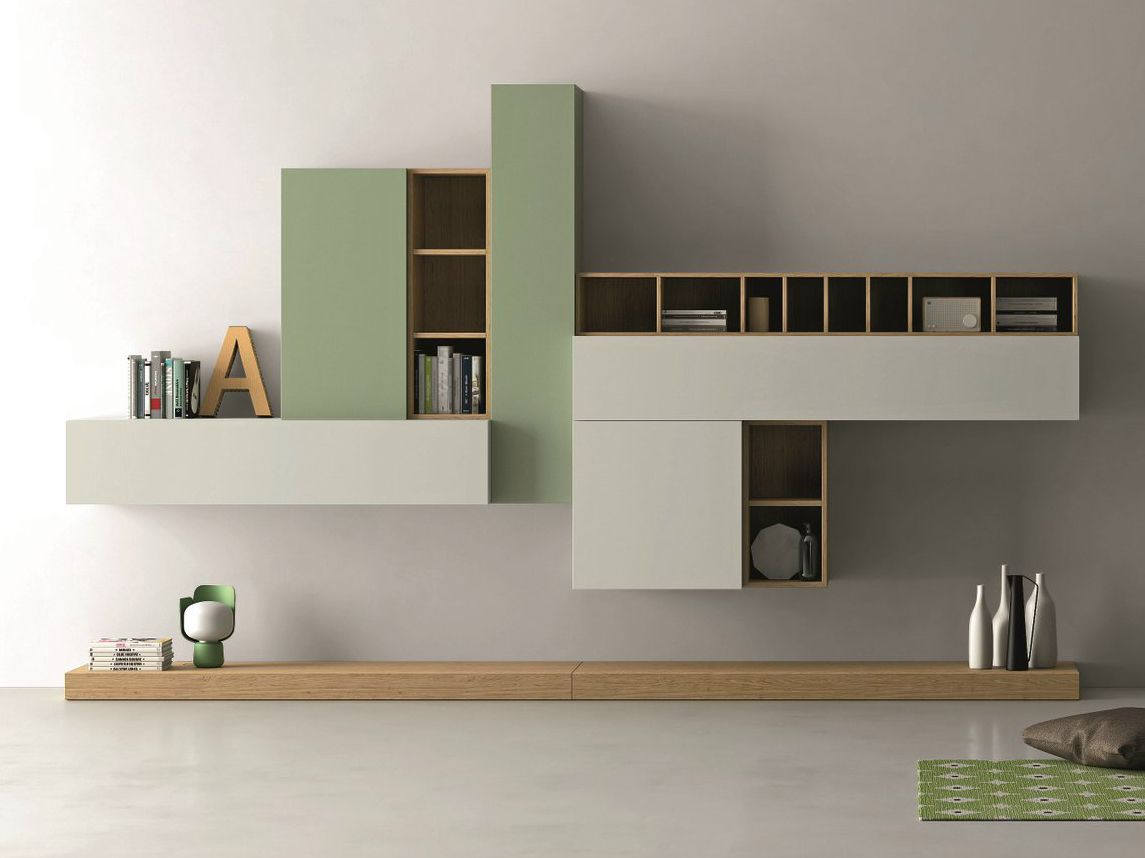 Mueble Modular De Pared Composable Lacado Slim 86 Colecci N Slim  # Muebles Coin Vert