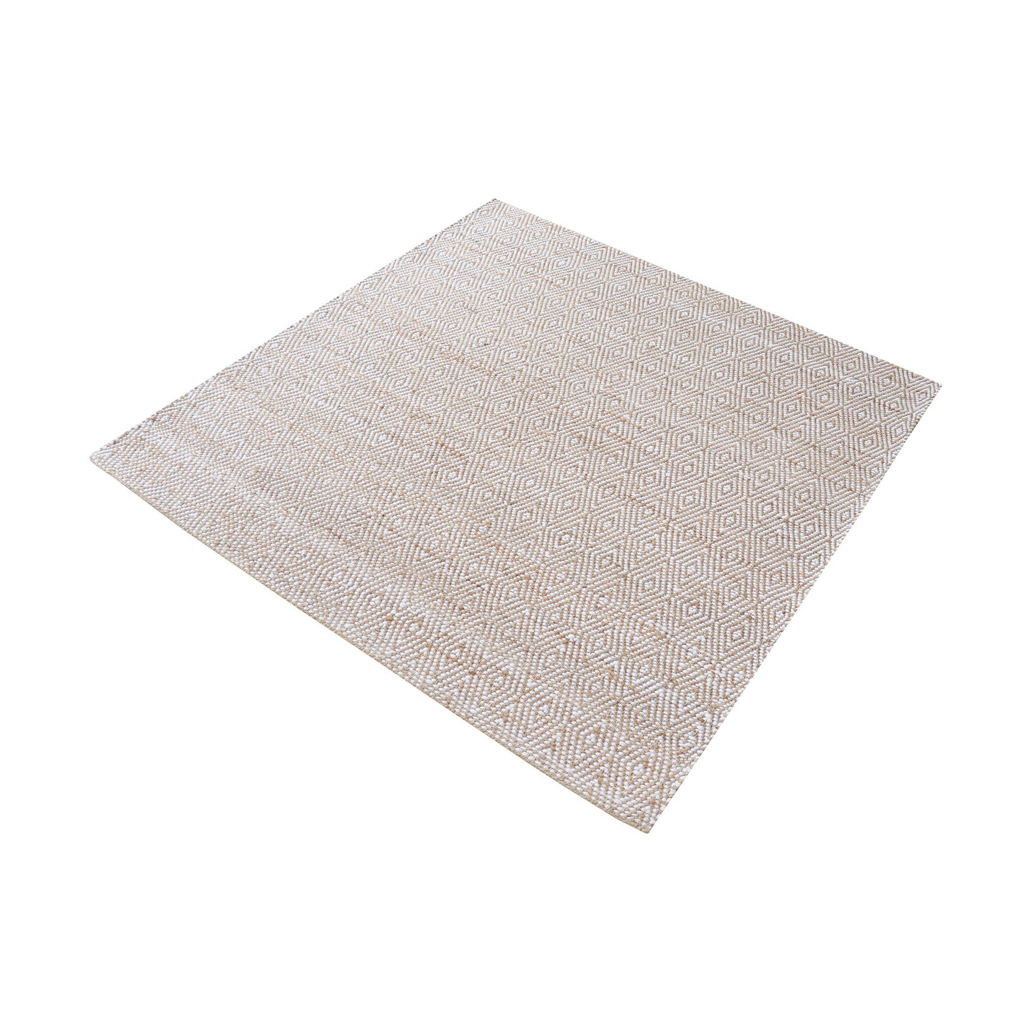 Elsie Handwoven Hemp And Cotton Rug 16 Inch Square Hand Weaving Beige Area Rugs Rugs