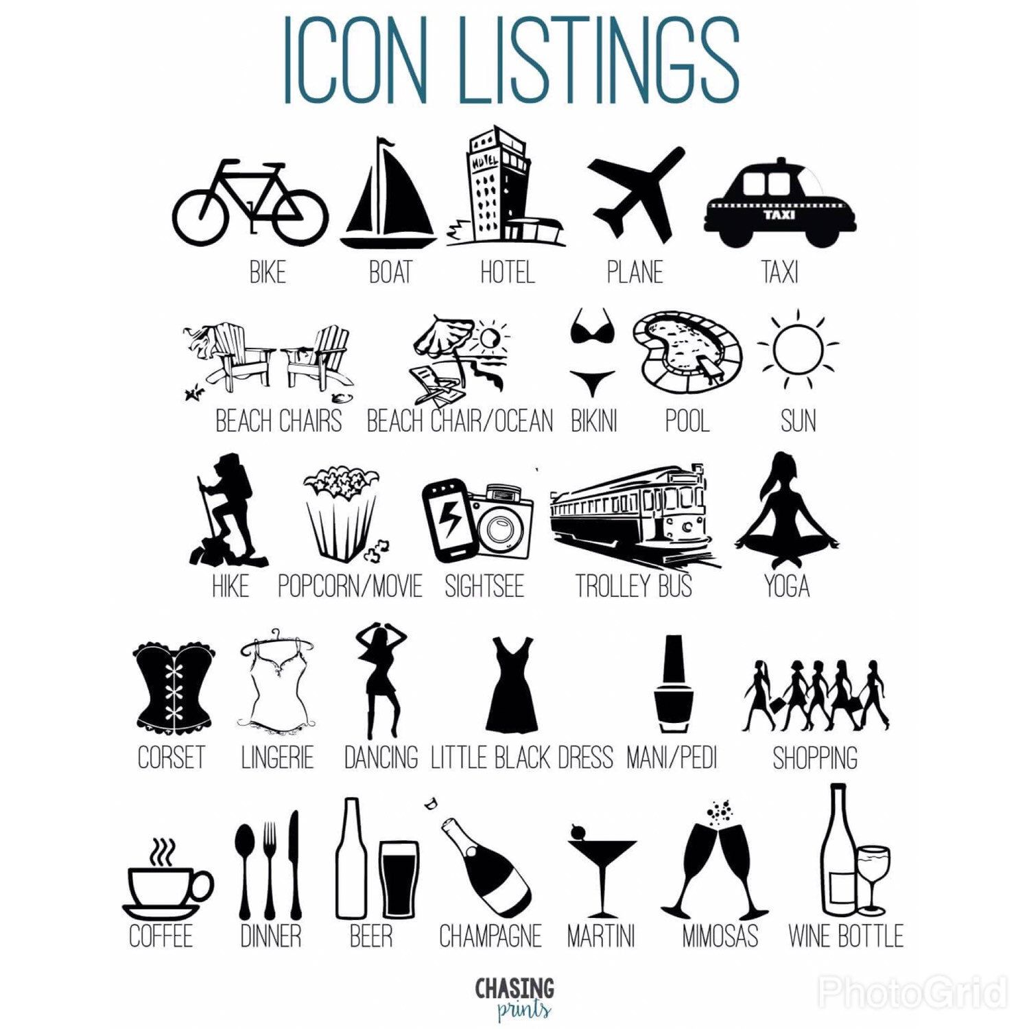 Lots of new icons for the timeline bachelorette weekend
