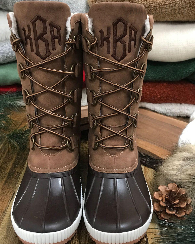Monogrammed Tall Winter Duck Boots Fur