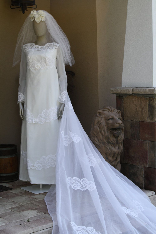 Mod 1960s Wedding Dress and Veil Vintage Mad Men Mod Mid