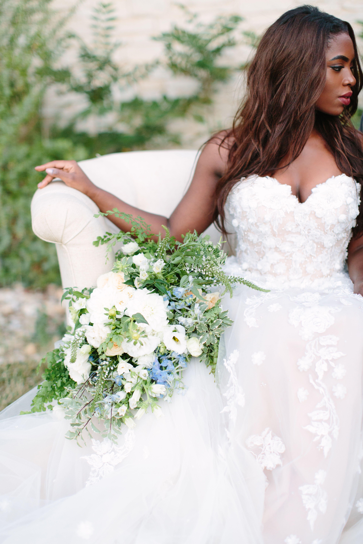 White u greenery bridal bouquet white u pale blue wedding hannah