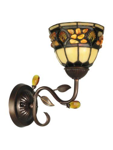 Dale Tiffany TH90231 Pebblestone Wall Sconce Light, Antique Golden Sand and Art Glass Shade Dale Tiffany Lamps