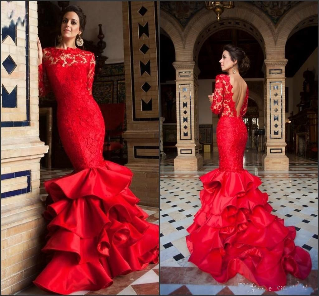 b80e2498550 Long Sleeve Red Evening Dresses 2016 Mermaid Arabic Formal Dresses New V  Back Lace Party Dresses Evening Tiered Satin Skirts Prom Gowns