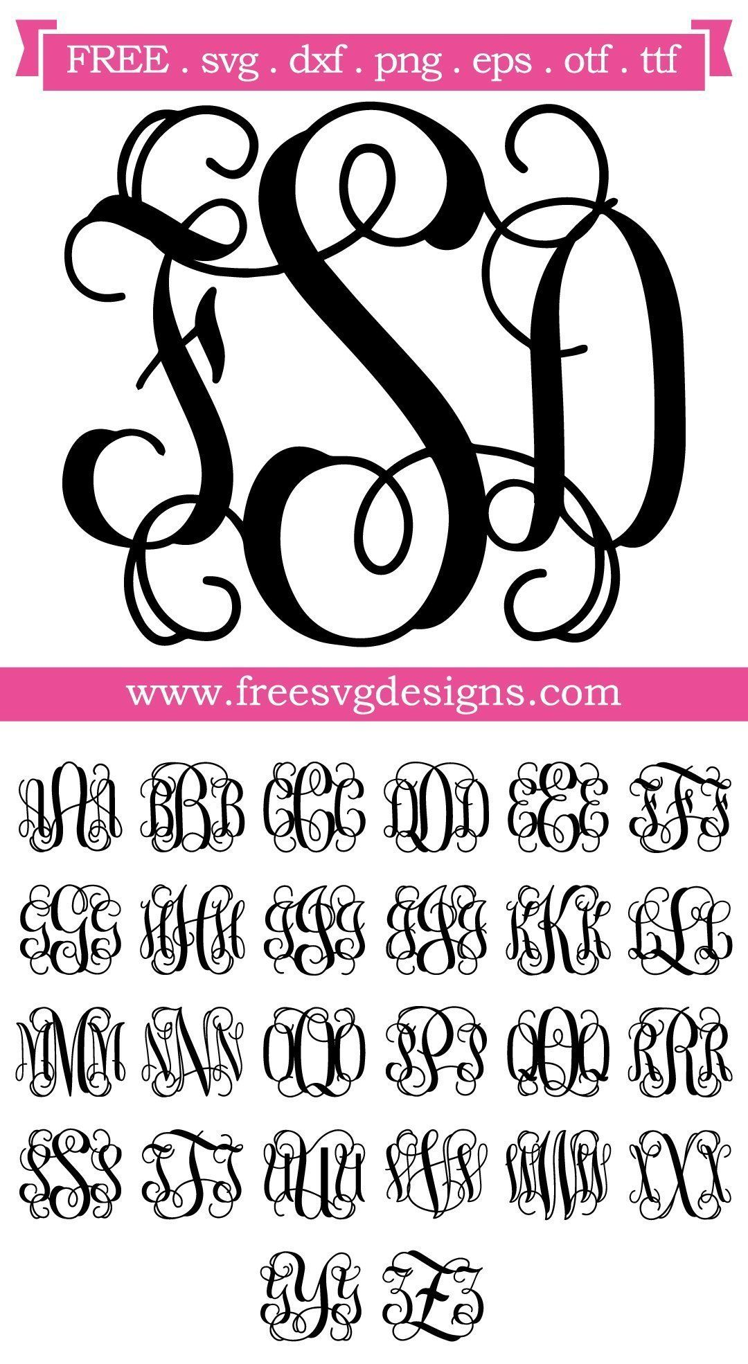 Download Free SVG files Script Vine Monogram Font at www ...