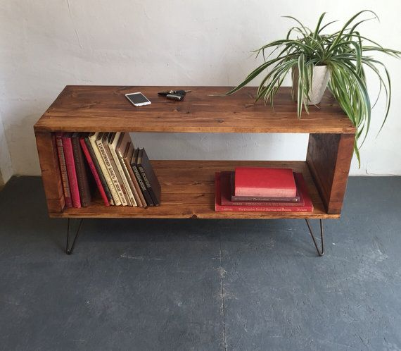 Solid Wood Coffee Tables With Storage Cabinets For Sale: Large Vinyl Storage Console Record Player Stand, Sideboard
