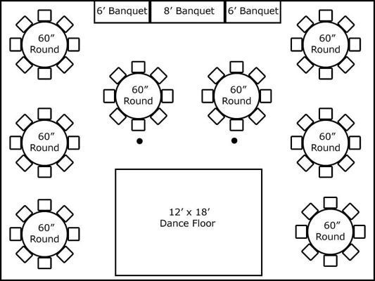 30 X 40 W Round Tables Buffet Wedding Reception