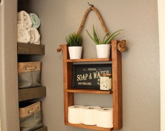 rustic ladder shelf wood and rope shelf farmhouse decor cabin furniture decor bathroom. Black Bedroom Furniture Sets. Home Design Ideas