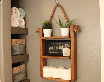 Plateau rustique en bois et corde tag re d cor de for Decoration etagere salle de bain