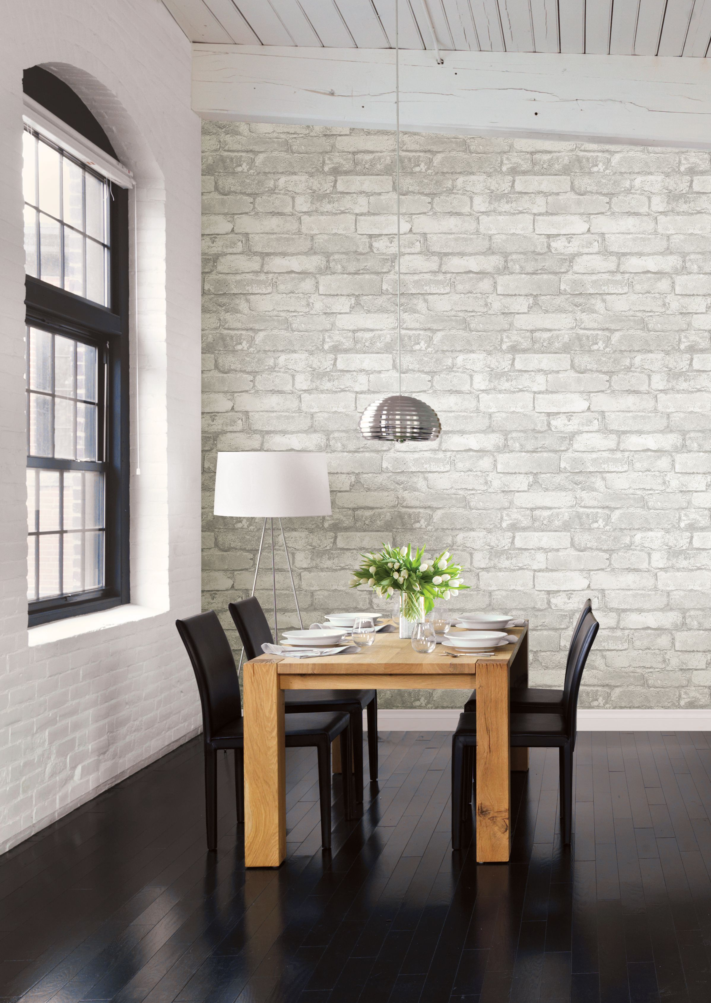 Grey And White Brick Peel Stick Wallpaper For A Loft Look Brick Interior Brick Interior Wall Grey Wood Floors