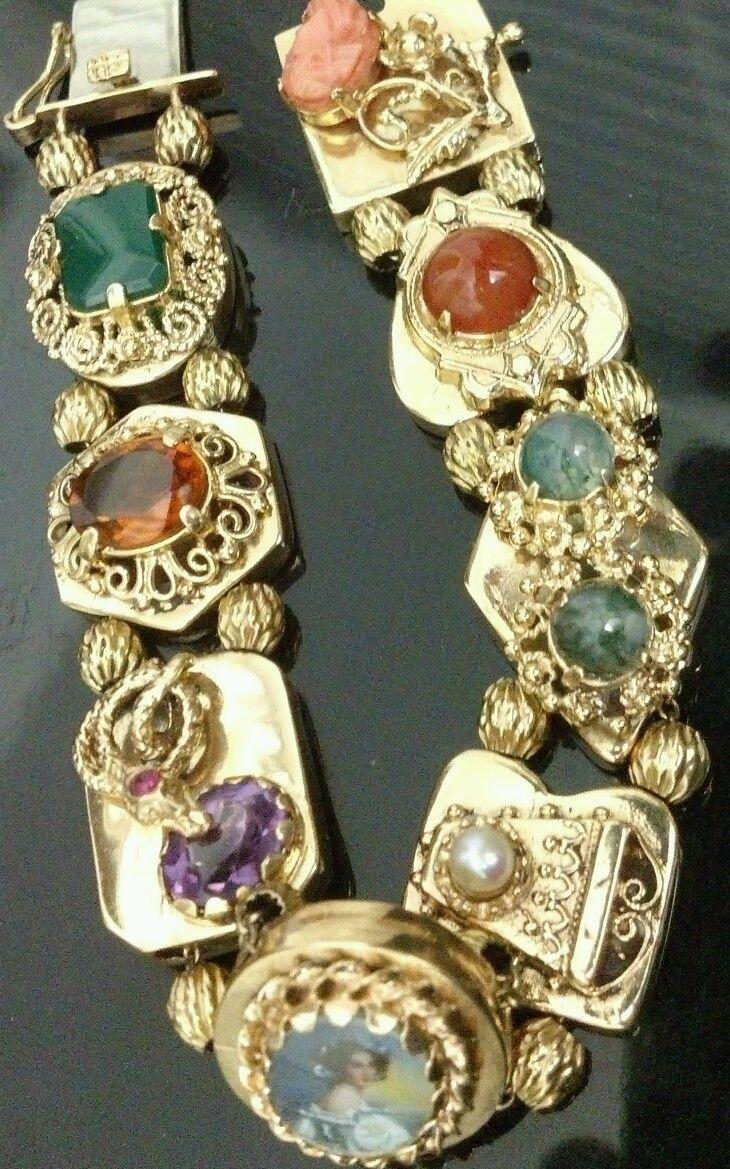 14k Yg Antique Vintage Slide Bracelet With 8 Gemstone Charms