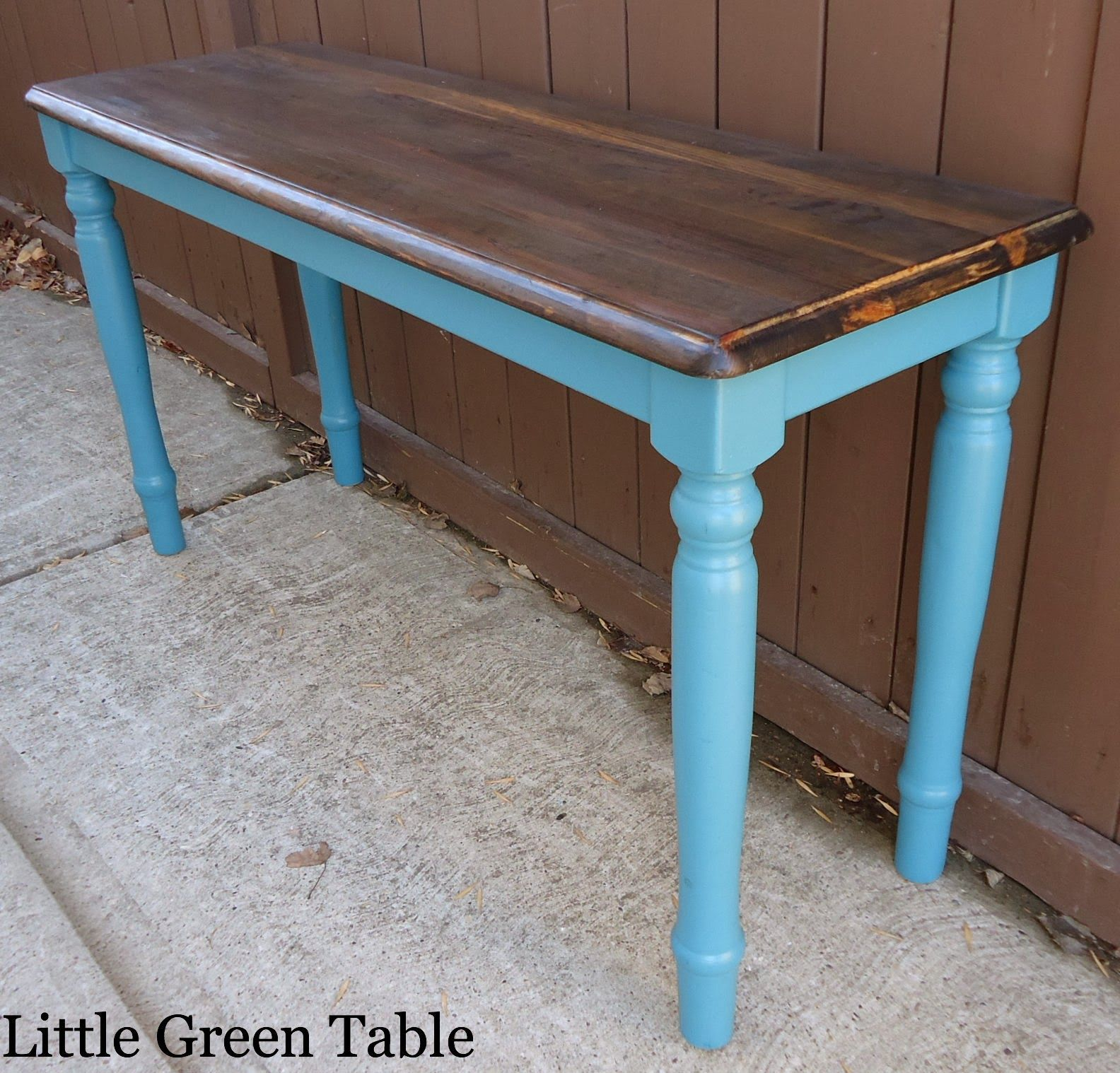 Bon Teal Entry Table With Stained Top...Redesigned By Little Green Table