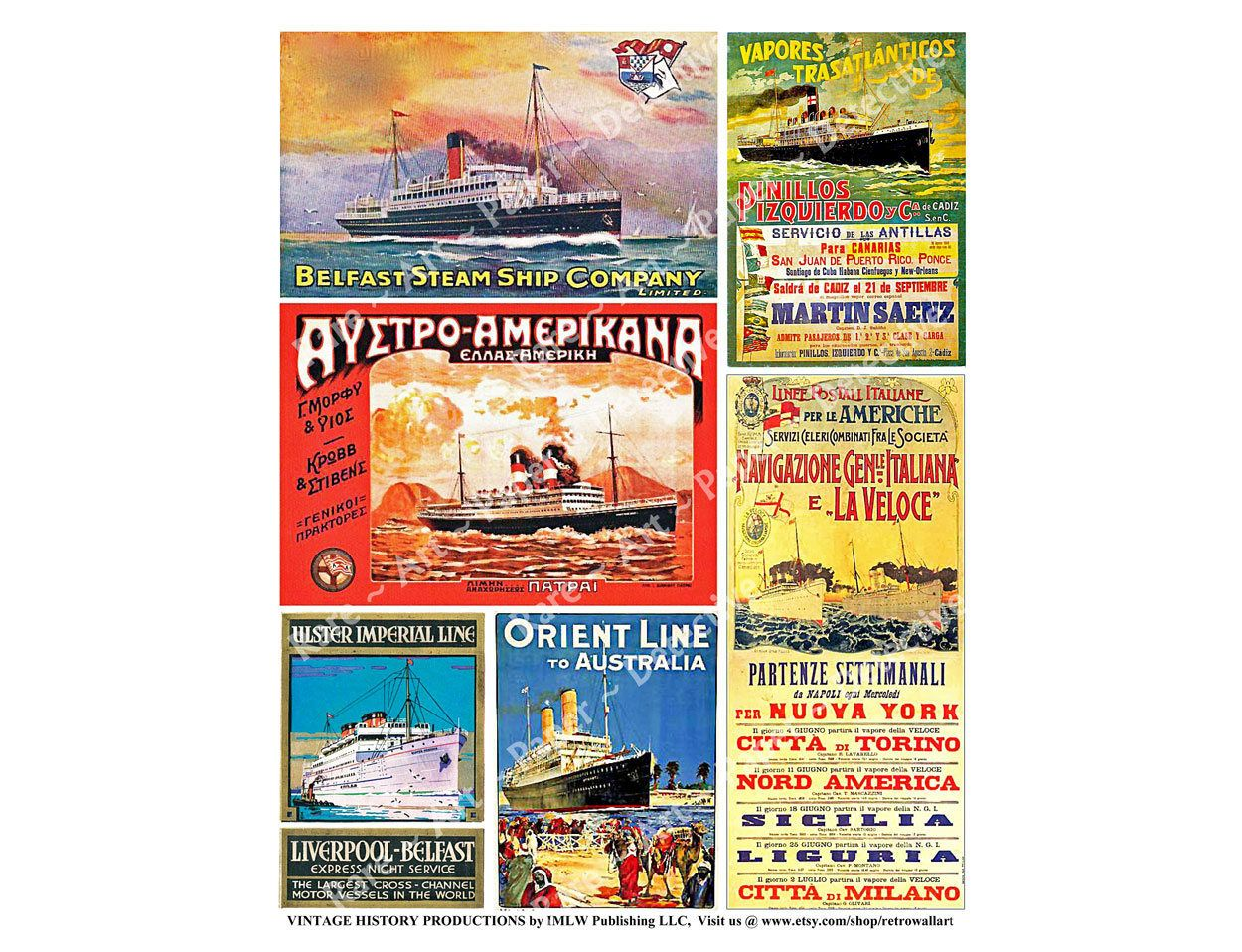 Steamship And Advertising Posters Digital Sheet Belfast Line Nautical Home Decor Collage Liverpool Mai Collage Poster Printed Sheets Digital Collage Sheets [ 958 x 1250 Pixel ]