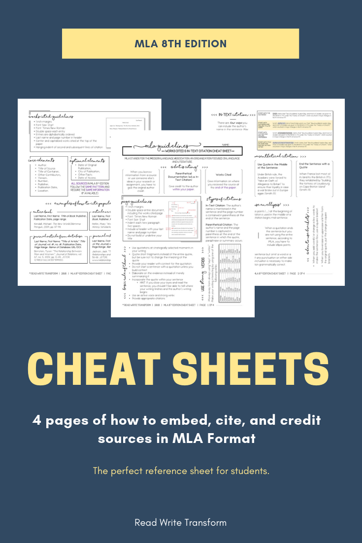 UPDATED 2019] MLA 8 Format Cheat Sheet | Writing lessons middle school,  Writing lessons, Mla