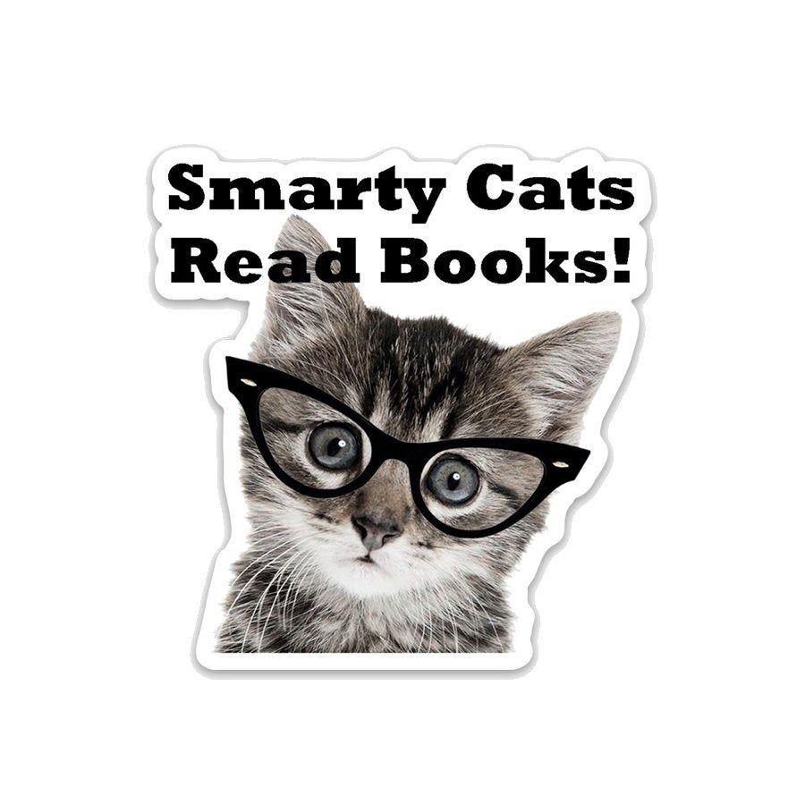 Smarty Cats Read Books 3 Vinyl Sticker Cat Reading Vinyl Stickers Laptop Vinyl Sticker