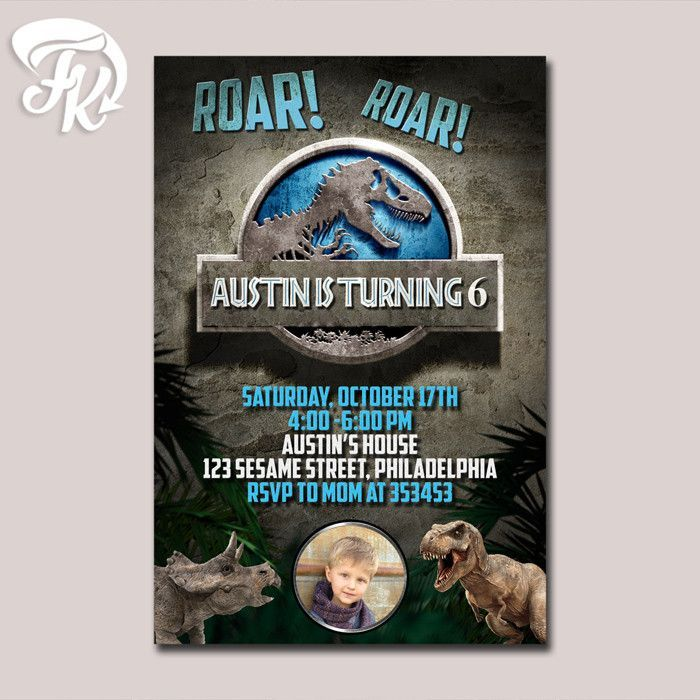 Jurassic World Inspired Birthday Party Card Digital