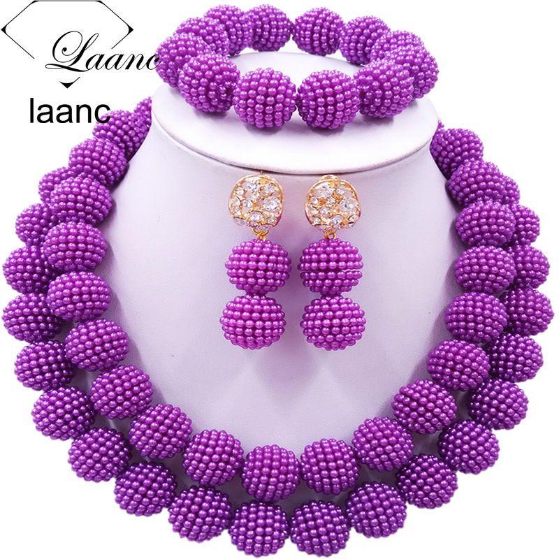 Laanc Fashion Purple Jewelry Sets Nigerian Beaded Simulated Pearl ...