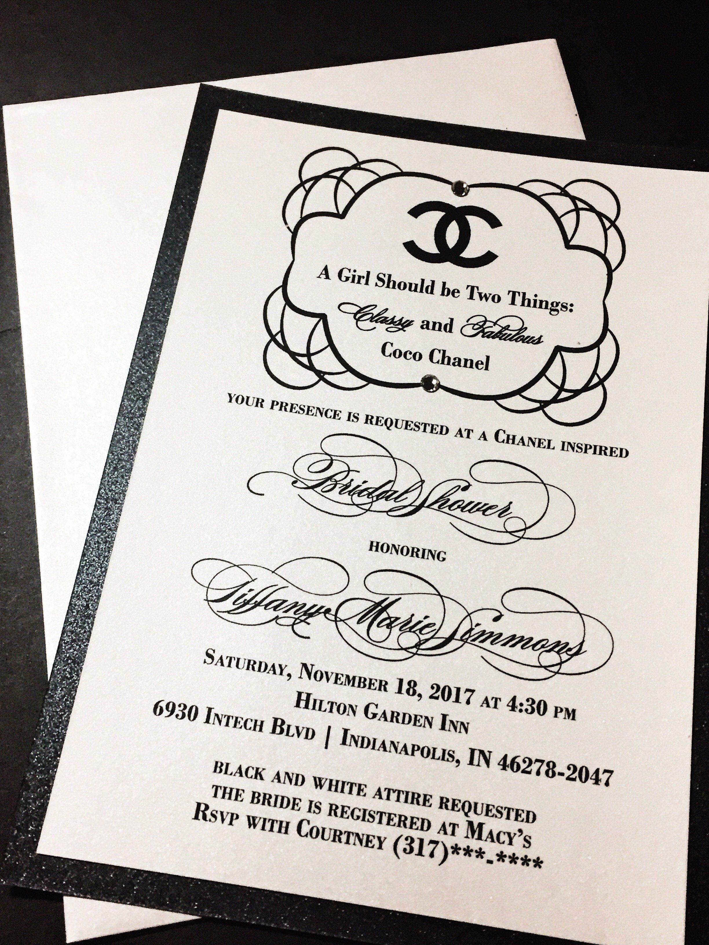 Bridal Shower Invitation; Chanel Inspired Bridal Shower Invitation ...