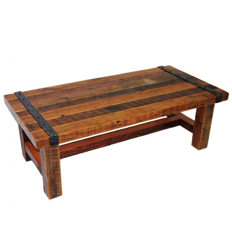 Olde Forge Barnwood Coffee Table Has Solid Wrought Iron Accents Nails And Trim Rustic Living Room