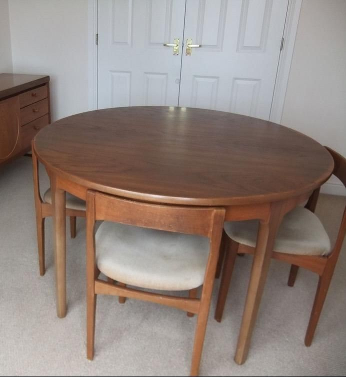 Nathan Extending Round Table And 4 Chairs Vintage Retro Mid