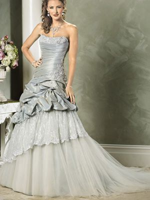 68b55fe064d9 Silver Strapless Taffeta Lace Ball Gown Dress | STYLE: SPECIAL ...