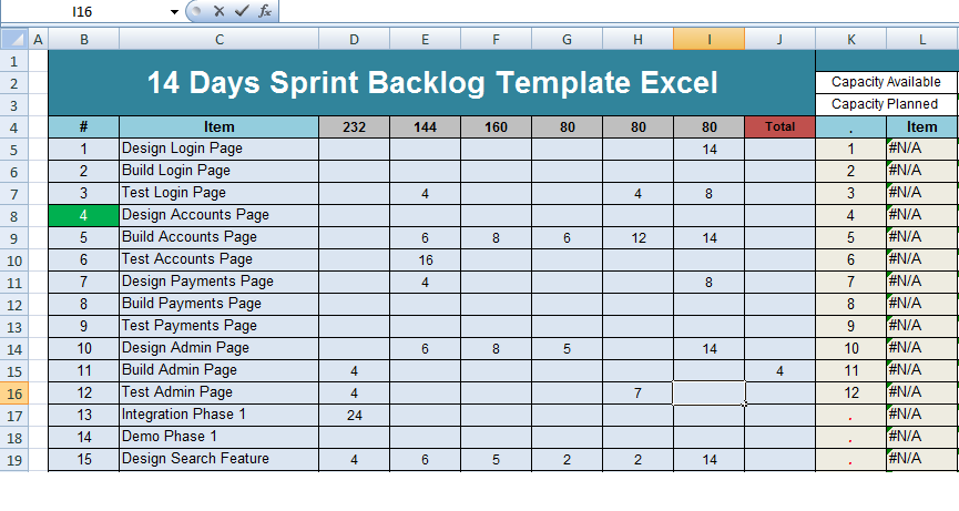 get 14 days sprint backlog template excel � project