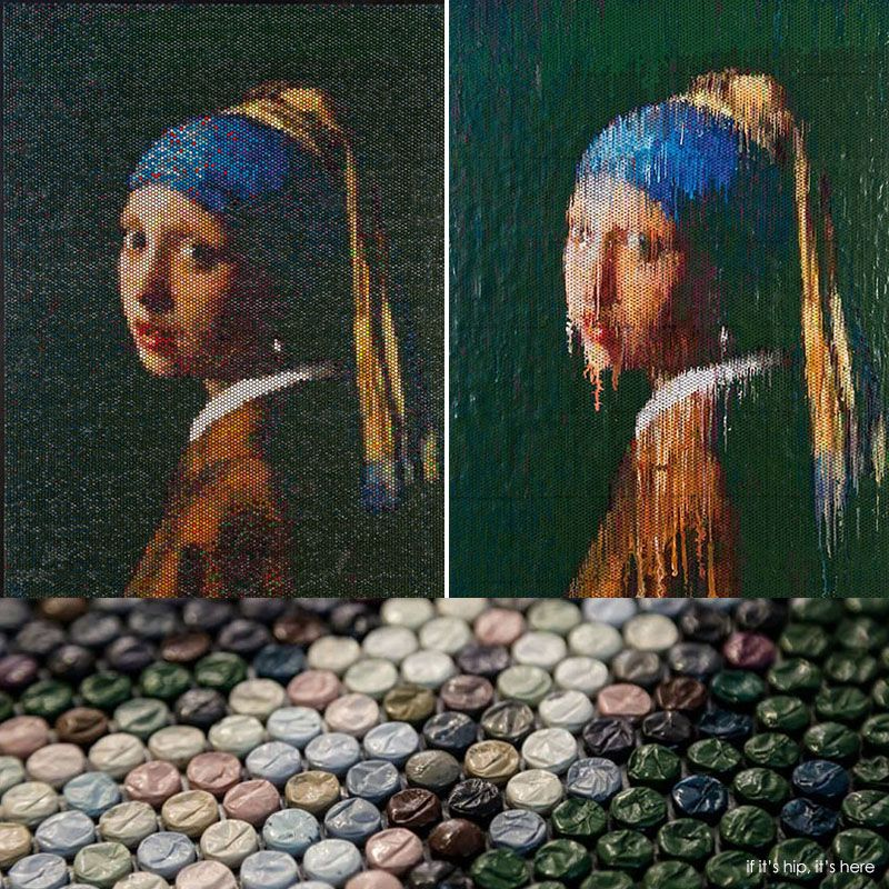 Artist Bradley Hart has recreated famous paintings by injecting different colored paints into the bubbles of bubble wrap. He then creates companion pieces by removing the drippings from the plastic to reveal an impression of the work.