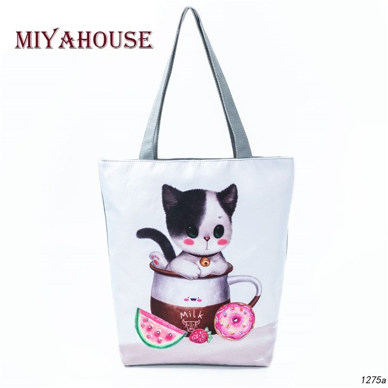 Miyahouse Cute Cat Printed Shoulder Bag Women Casual Cartoon Animal Design  Canvas Tote Handbag Female Summer Beach Bag Girls Price  10.99   FREE  Shipping   ... 678596de38100
