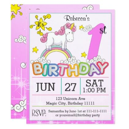 1st Birthday Party Unicorn Invitation Various Invitations