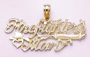 Amazon.com: 14k Gold Profession Necklace Charm Pendant, Firefighter's Mom With Heart & Helme: Million Charms: Jewelry