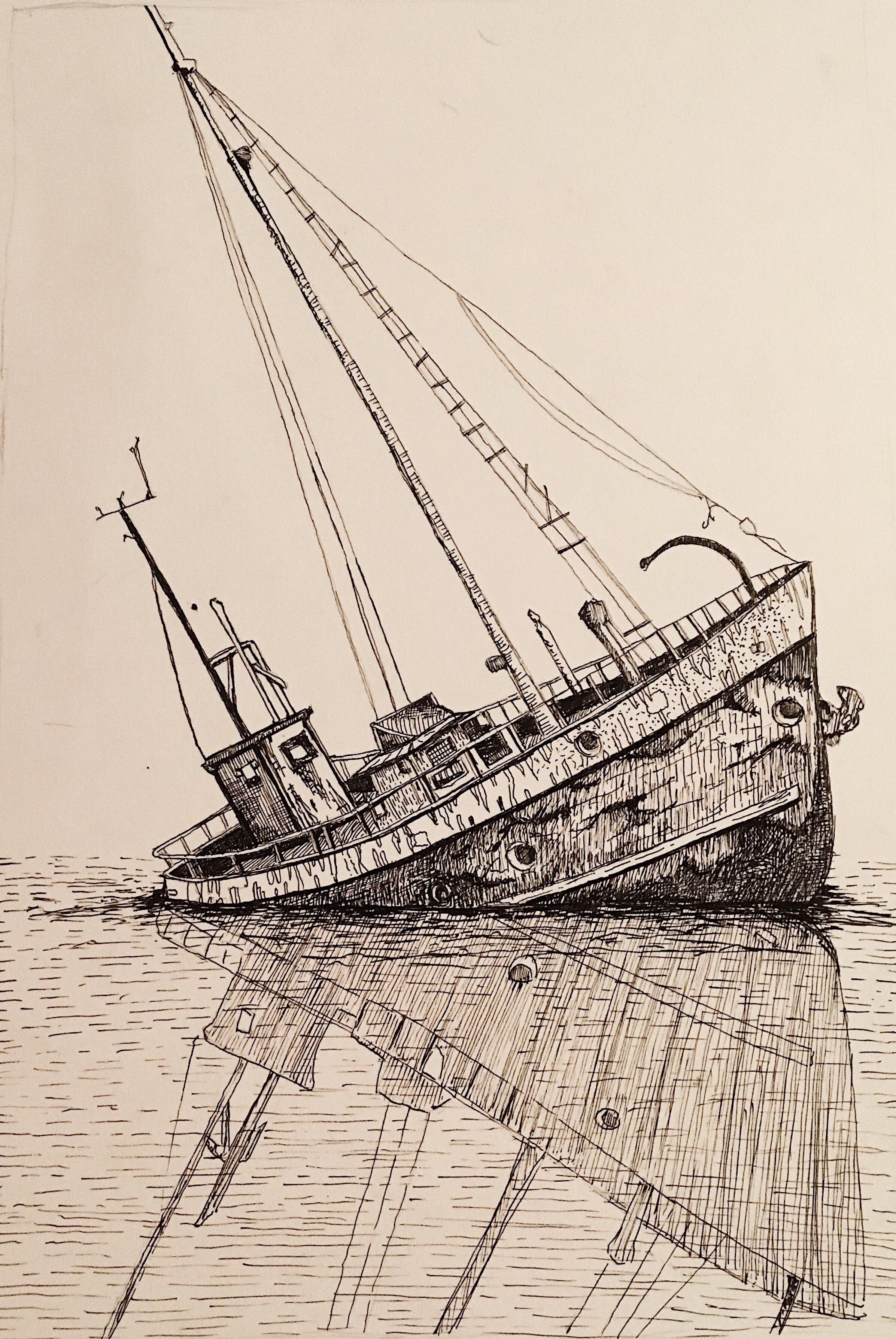 Sinking Ship Pen Amp Ink 9inx12in In