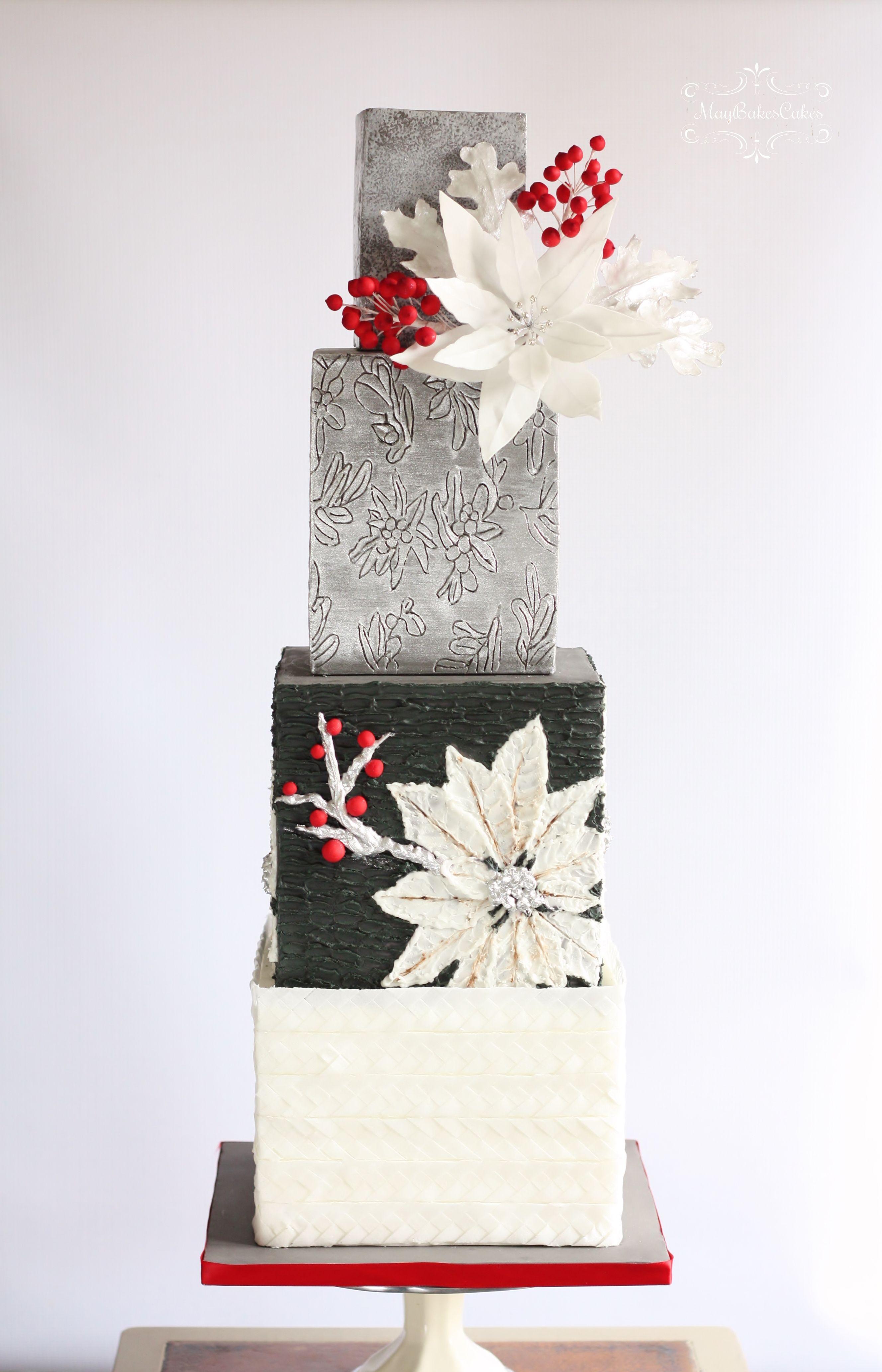White Poinsettia Wedding Cake\