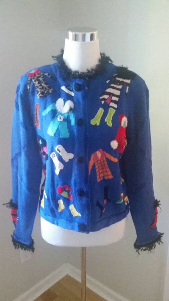 ugly christmas sweater royal blue embellished by excusemevintage