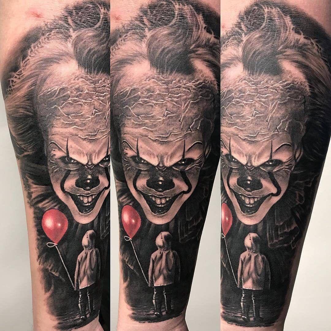 "Tamas Dikac on Instagram: ""#pennywise from a while back #horror #horrorart #darkart #darkartist #dark #scaryclown #clowntattoo #tattoo #tattooart #inked #realism…"""