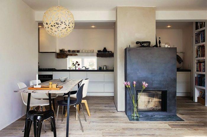 Gut Kamin Körper In Grau In Einer Modernen Wohnung