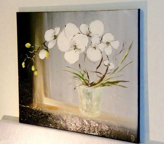 Tableau peinture bouquet d 39 orchi orchid es blanches for Bouquet fleurs blanches