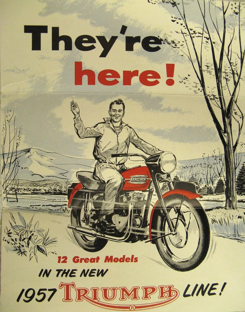 Retro Vintage Triumph Poster They Re Here Vintage Motorcycle Posters Vintage Motorcycles Old Motorcycles