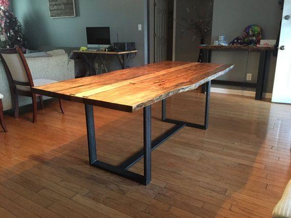 Custom Live Edge Dining Table Slab Dining Table Dark Wood
