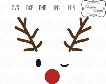 Reindeer Face Svg Rudolph Antlers Christmas