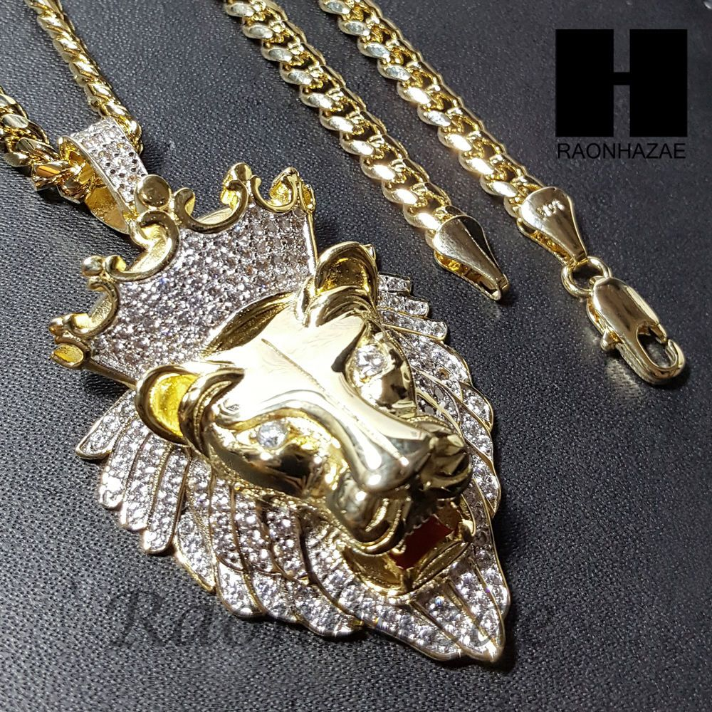 Iced out micro pave k gold pt king lion pendant w