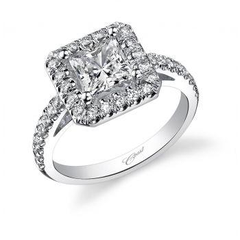 Engagement ring (#LC5247) A show-stopping design, this engagement ring features a princess cut center stone surrounded by a halo of intricately set diamonds. #CoastDiamond