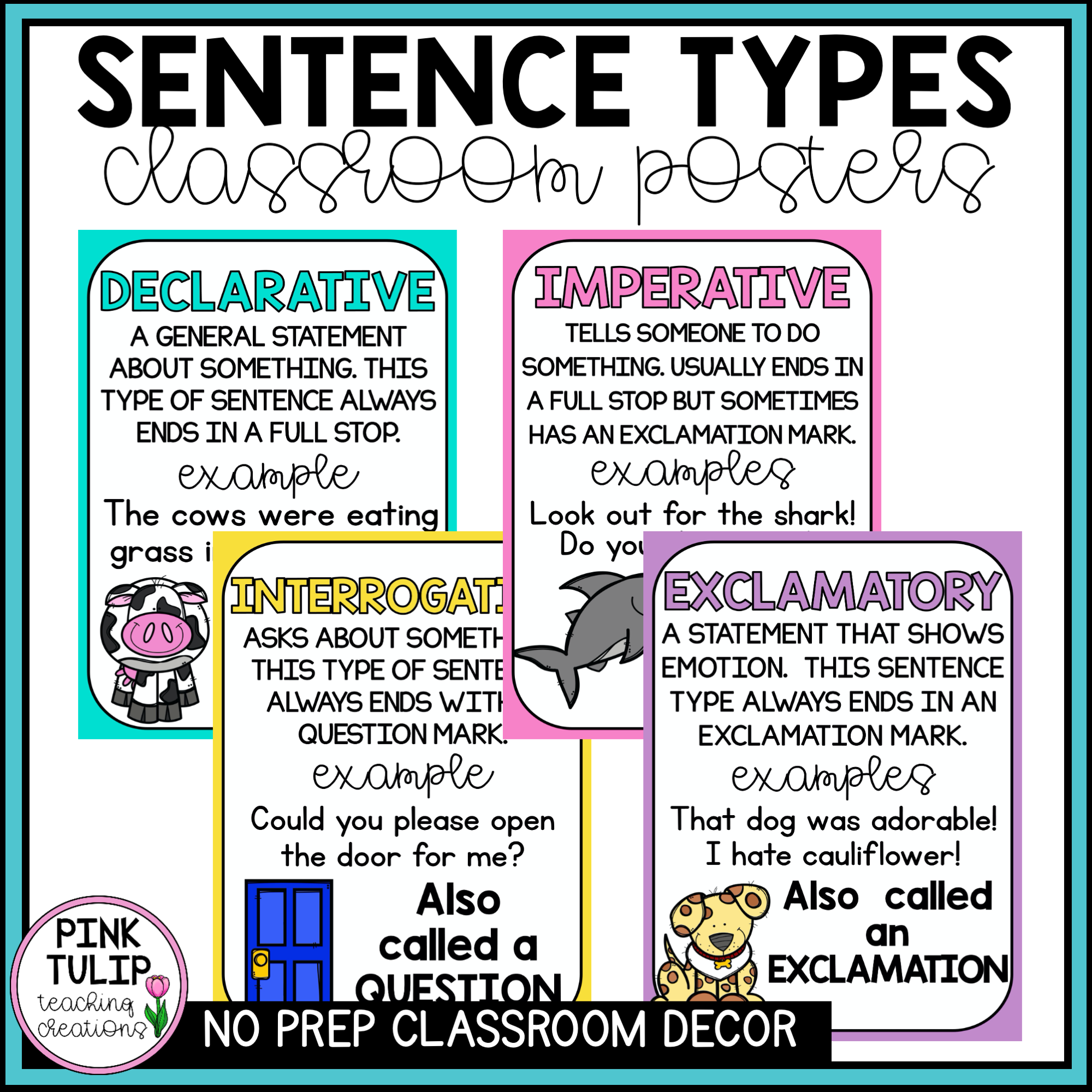 Sentence Types Classroom Poster Display In With