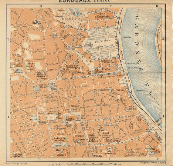 1914 Bordeaux France Antique Map Bordeaux france Antique maps and